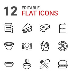 lunch icons vector image