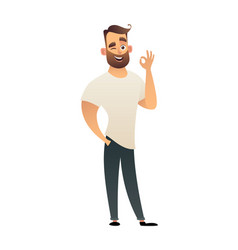 man showing gesture okay ok in vector image