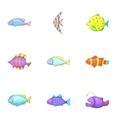 Marine fish species icons set cartoon style vector image