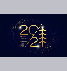 merry christmas and new year 2021 festive shining vector image