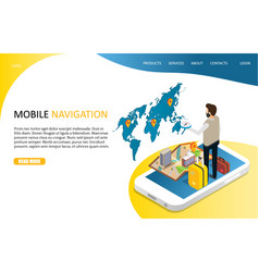 mobile navigation landing page website vector image