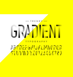 Modern thin gradient font alphabet and numbers vector