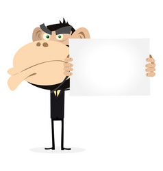Monkey businessman holding a blank sign vector
