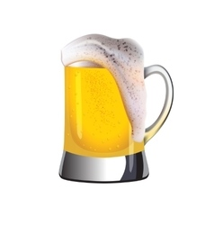 Mug of golden beer topped with foam vector