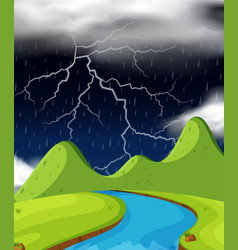 Nature scene with lightning and raining at night vector