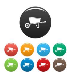 one wheel barrow icons set color vector image