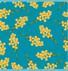 Orange iris flower on indigo blue background vector