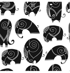 ornate elephant seamless pattern for your design vector image