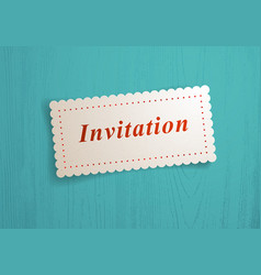 Paper sheet memo invitation word on it over vector