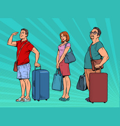 passengers with luggage in queue airport vector image