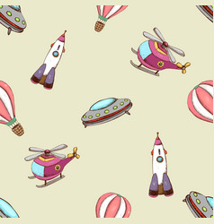Pattern with balloon helicopter and rocket vector