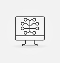 Pc with brain line icon ai outline sign vector
