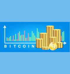 pile golden bitcoin coins vector image