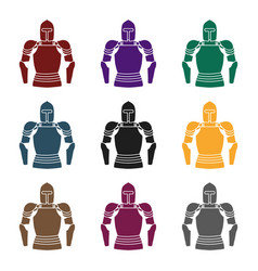 Plate armor icon in black style isolated on white vector