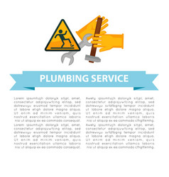 Plumbing service poster with text and signs vector