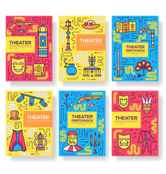 Premium quality theater brochure cards thin vector