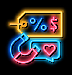 Product price discount neon glow icon vector