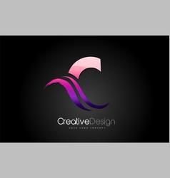purple violet c letter design brush paint stroke vector image