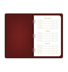 realistic detailed 3d menu book open view vector image