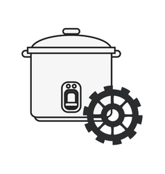 rice cooker and gear icon vector image