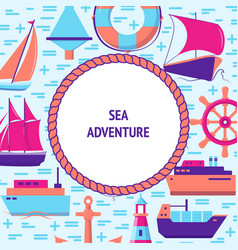 sea adventure concept banner with ship icons vector image
