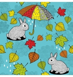Seamless pattern with rabbit under the umbrella vector image