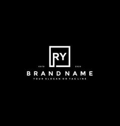 Set letter ry logo design vector