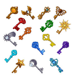 set of vintage multicolored keys isolated on white vector image