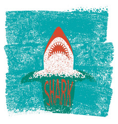 Shark jaws blue sea waves background vector