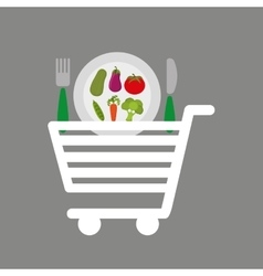 shopping cart vegetables food vector image