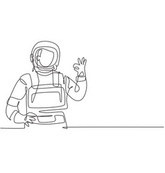 Single one line drawing male astronauts vector