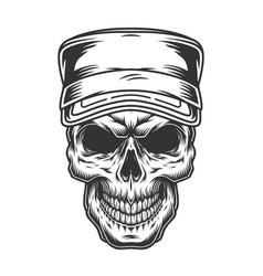 Skull in military cap vector