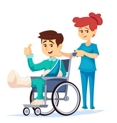 Smiling man in a wheelchair with broken leg arm vector