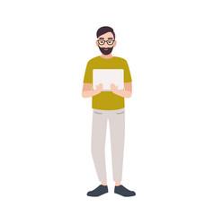 smiling programmer coder web developer software vector image