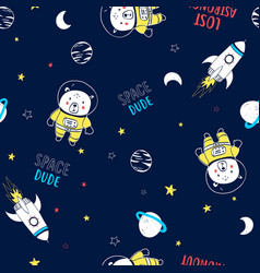 Space seamless pattern hand drawing vector
