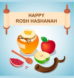 Sweet rosh hashanah concept background isometric vector