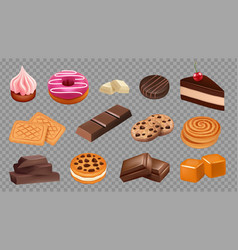 sweets collection realistic cookies chocolate vector image
