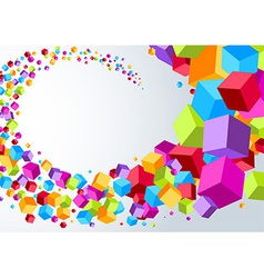 Swoosh made of colorful cubes vector