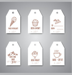 tags with sweets and bakery tea price card vector image