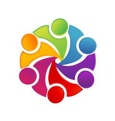Teamwork colorful circle group art logo vector