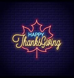 thanksgiving neon sign happy retro vector image