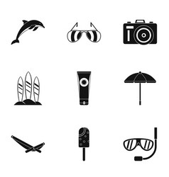tourism at sea icons set simple style vector image