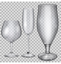 Transparent empty glass goblets vector image