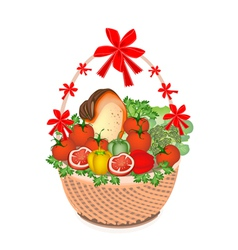 Vegetable and food in gift basket vector