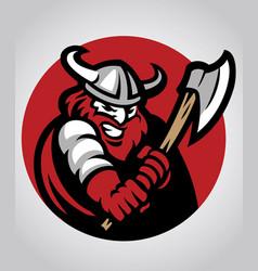 Viking mascot swinging axe vector