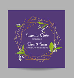 Wedding invitation floral template geometric vector
