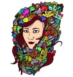 Woman doodle art vector