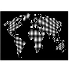 world map - abstract dotted background black and vector image