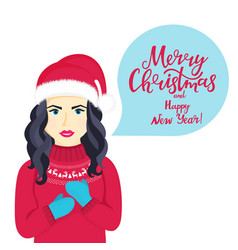 young girl in santa claus hat and sweater with vector image