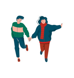 young man and woman embracing happy running vector image
